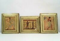 Vintage Set of 3 Exclusive Antiqued Florentine Plaques Pictures Made in Italy