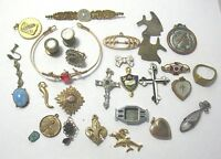 JEWELRY Lot 27 PIECES GF SILVER SOME WEARABLE 112 GRAMS LOT 9 antique vintage