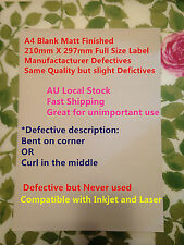 10 A4 Blank Matt label inkjet laser printer defective faulty self adhesive paper
