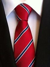 New Classic Striped Blue Red JACQUARD WOVEN 100% Silk Men's Tie Necktie
