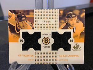 2002-03 Joe Thornton/Sergei Samsonov UD SPGU Authentic Fabrics #15/99 Boston