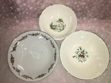 3 antique serving bowls dishes hand painted Germany floral nautical ship boat