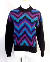 vtg 80s Rafaella Colorful Knit Chevron Design Jumper Sweater sz M