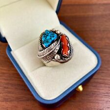 HEAVY NATIVE AMERICAN STERLING SILVER LEAF TURQUOISE & CORAL MENS RING SIZE 10.5