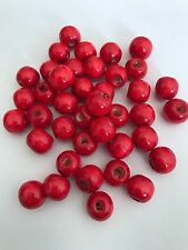 200 pcs Cherry Red Wood Beads Round 12mm Bead Jewelry Making Wooden Tool 53b
