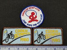 Vintage Girl Scout Patch Lot Cookie Drive 1980 Jump Rope American Heart Assoc