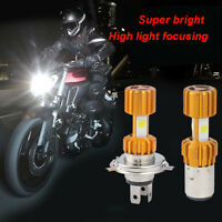 H4 6000LM LED Motorcycle Moped Headlight Bulb Fog Light DRL White + RGB Strobe
