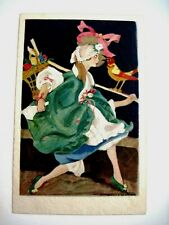 Charming Vintage Art Deco Postcard Artist Signed w/ Lady & Red & Yellow Bird *