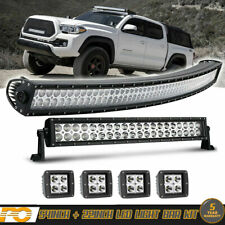 """54"""" Curved LED Light Bar +22in 120W Combo +3inch Pods Driving Truck SUV Offroad"""