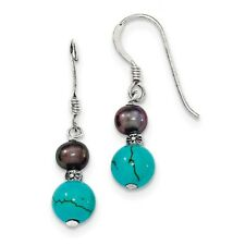 925 Sterling Silver FW Cultured Black Pearl & Turquoise Dangle Earrings