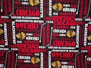 "NEW NHL CHICAGO BLACKHAWKS COTTON Fabric 1/4yard=9""x44"" BLACK RED 1926 DIY MASK"