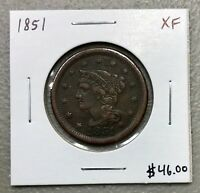 1851 U.S. BRAIDED HAIR LARGE CENT ~ XF CONDITION! $2.95 MAX SHIPPING! C799