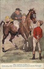 English Political Satire Race Horse Fat Jockey Election Comic Postcard gfz