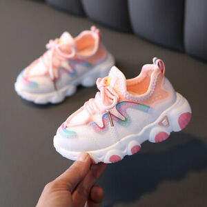 Boy's Ultralight Soft Sole Casual Shoes Girl's Breathable Mesh Lace-Up Soft Snea