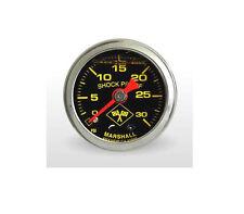 """Marshall Gauge 0-30 Psi Fuel / Oil Pressure Midnight Chrome 1.5"""" (Liquid Filled)"""