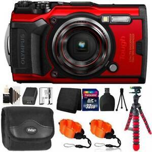 Olympus Tough TG-6 Digital Camera Red + 32GB Memory Card & Accessory Kit