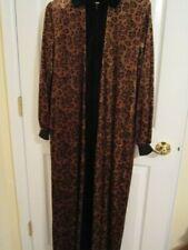 Womens Robe Size Small Loungewear Vintage Leopard Print Zip Front Long Sleeve