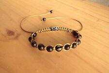 BRACCIALE in Shungite 14 perle / Mantra incisa / Shamballa bracelet stone beads