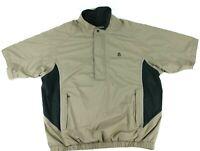 FJ Footjoy Dryjoys Brown Black Men Size XL 1/2 Zip Snap Golf Jacket Short Sleeve