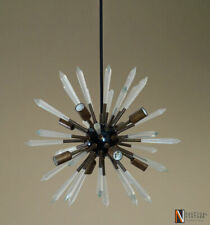Modern Patina Brass & Acrylic Crystal Sputnik Chandelier Light Fixture