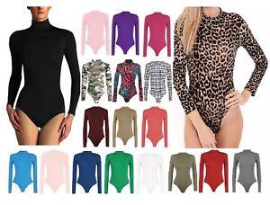 New Ladies Plain Turtle Polo Neck Bodysuit Womens Long Sleeve Leotard Top 8-26