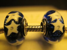 2 Authentic Pandora Silver 925 Ale Blue Starry Night Sky Beads Charms 791662CZ