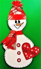 WELCOME SNOWMAN SIGN Winter Wall Art Hanging Door Hanger Plaque Seasonal Decor