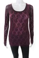 Fuzzi Women's Long Sleeve Crew Neck Top Purple Size Small