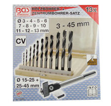 13 tlg. Holzbohrer Satz Ø 3mm-13mm + Zentrumbohrer Fräsbohrer Ø 15mm-45mm B50403