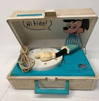 Vintage Mickey Mouse Disney Portable Record Player Turntable For Parts