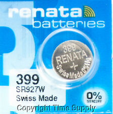 1 Renata 399 Watch Batteries SR927W FREE SHIP 0% MERCURY