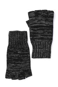 New John Varvatos Fingerless Gloves in Marled Black One Size