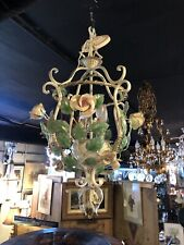 Vintage Italian Tole Floral Fabulous Shabby Chic Four Light Chandelier