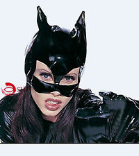 Women Black PVC Leather Look Shining Wild Cat Mask Costumes Club Dance Party
