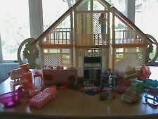 Vintage 1970s Barbie A-Frame Dream House with Pool and Furniture