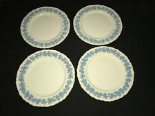 4 Wedgwood Embossed Queensware Lavender On Cream Shell Edge Dinner Plates MINTY