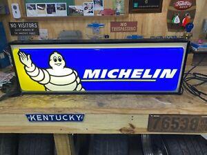 "MICHELIN TIRES DEALER 37""X13"" DOUBLE SIDED LIGHTED SIGN! BIBENDUM! MICHELIN MAN!"