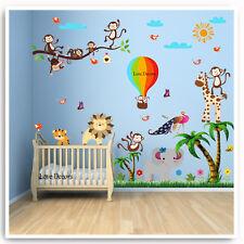 Monkey Animal Wall Stickers Jungle Zoo Lion Nursery Baby Kids Bedroom Decal Art