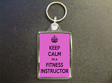 KEEP CALM I'M A FITNESS INSTRUCTOR PINK KEYRING BAG TAG BIRTHDAY GIFT