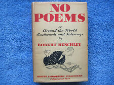 ROBERT BENCHLEY - NO POEMS -1932 - FIRST EDITION, FIRST PRINTING -IN DUST JACKET