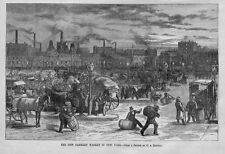 FARMERS MARKET IN NEW YORK, HORSES, WAGONS, PRODUCE