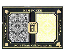 "KEM ""ARROW"" BLACK AND GOLD PLASTIC PLAYING CARDS POKER SIZE JUMBO INDEX *"