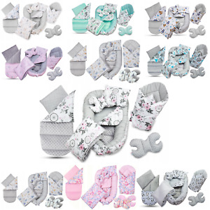 BABYMAM  Kokon Set  7in1 Nestchen Matratze Babyhörnchen Kissen Minky Decke