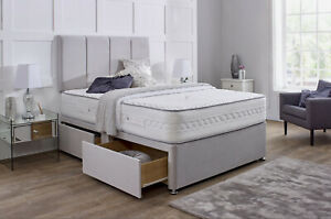 FABRIC SUEDE MATCHING DIVAN BED SET STORAGE MEMORY MATTRESS 4FT6 Double 5FT King