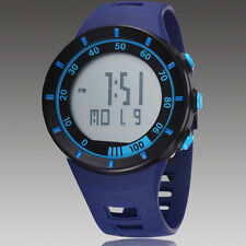 Mens Blue OHSEN Digital Quartz LED Light For Diving Rubber Band Wrist Watch
