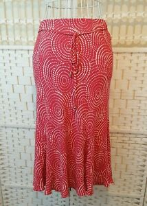 Marks And Spencer Petite Ladies Skirt Size 12 UK Red White Spotted Print Midi
