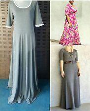 NWoT Lularoe 3XL HTF Ana Heathered Gray White Trim Maxi Floor Long knit Dress