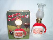 "Vintage Ceramic Christmas Santa Oil Lamp Night Lights New in Box 8 1/2"""