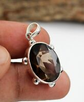 Solid 925 Sterling Silver Jewelry Smoky Quartz Gemstone Office Wear Gift Pendant