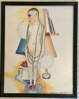 Original drawings set of two women One is statute and woman in bedroom, Signed